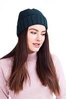 Женская шапка с отворотом бутылочного цвета