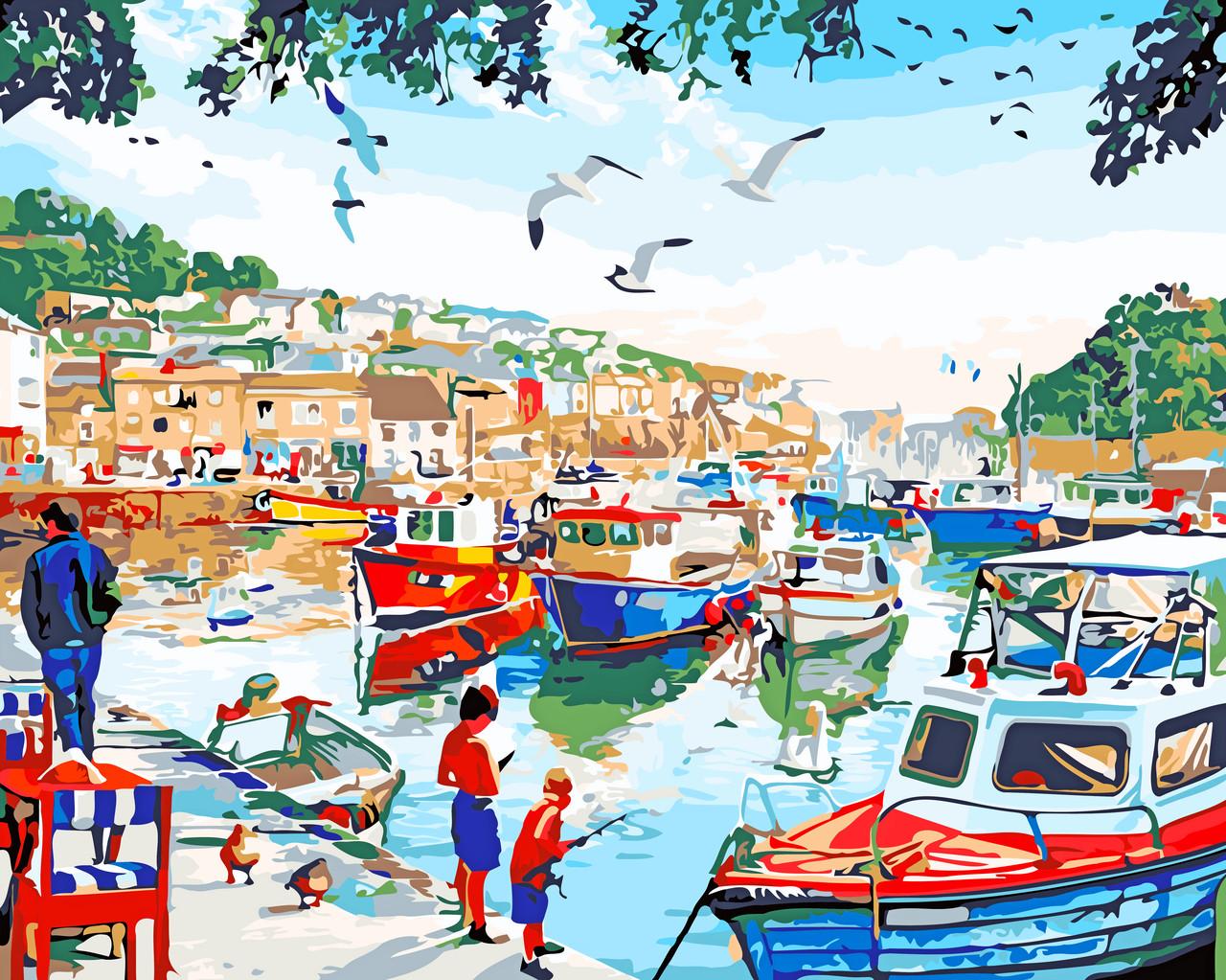 Художественный творческий набор, картина по номерам Рыбацкая деревня, 50x40 см, «Art Story» (AS0543)