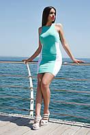 Разноцветное короткое женское платье без рукавов
