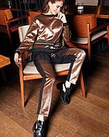 Брючный женский костюм велюровый бронза, код 2237
