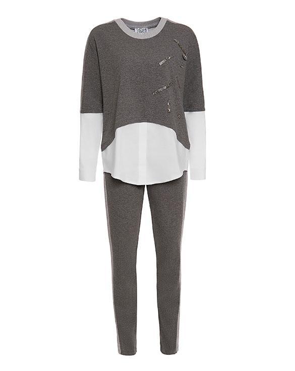 Брючный костюм женский серый, код 2151