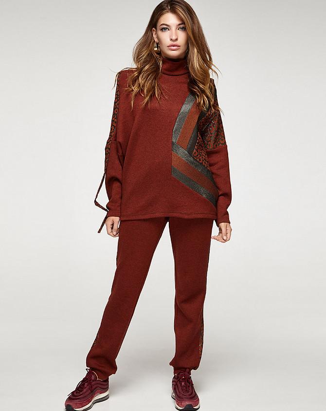 Женский теплый терракотовый костюм с принтоваными лампасами, код 2354