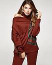 Женский теплый терракотовый костюм с принтоваными лампасами, код 2354, фото 2