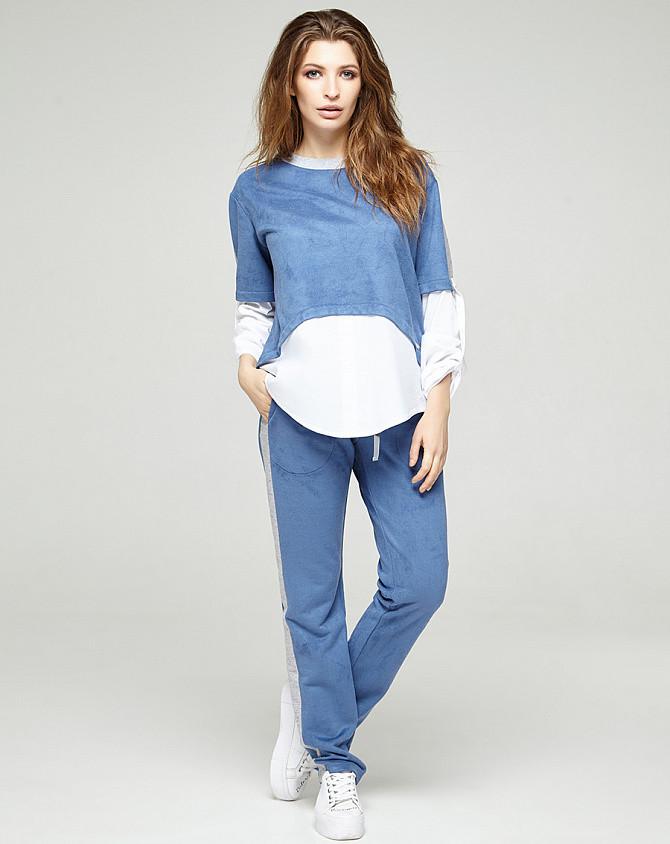 Замшевый костюм голубой, код 2296
