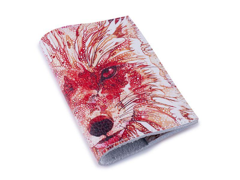 Кожаная женская обложка для паспорта -Лиса-