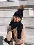 Набор женский шапка шарф перчатки, чёрный серый красный молочный, фото 2