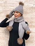 Набор женский шапка шарф перчатки, чёрный серый красный молочный, фото 3