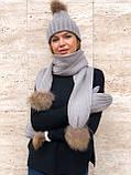 Набор женский шапка шарф перчатки, чёрный серый красный молочный, фото 4