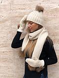 Набор женский шапка шарф перчатки, чёрный серый красный молочный, фото 5