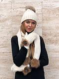 Набор женский шапка шарф перчатки, чёрный серый красный молочный, фото 6