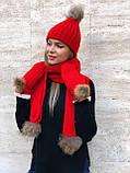 Набор женский шапка шарф перчатки, чёрный серый красный молочный, фото 7