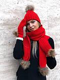 Набор женский шапка шарф перчатки, чёрный серый красный молочный, фото 8