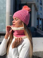 Набор женский: шапка, хомут фиолетовый, серый, бордовый, розовый