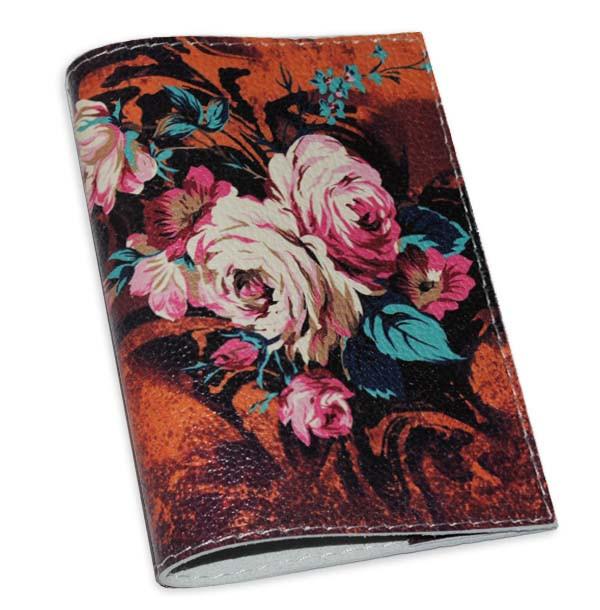 Кожаная женская обложка для паспорта с цветами -Осеннии букет-