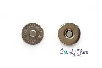 Кнопка магнитная зажим, 14мм серебро