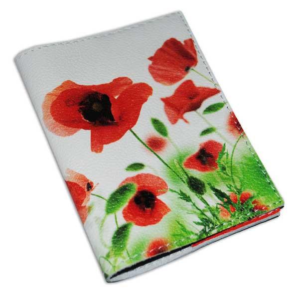 Обложка для паспорта женская цветы -Маки-