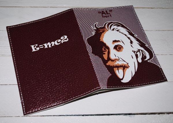Мужская обложка для паспорта кожа -Эйнштейн-