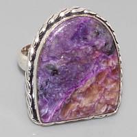 Чароит. Кольцо с чароитом 17,0. Кольцо с камнем чароит.