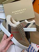 Модные женские кеды BURBERRY с мехом (реплика), фото 1