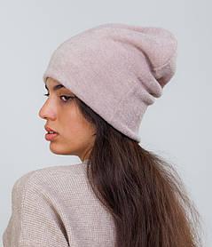 Зимняя шапка чулок бежевая