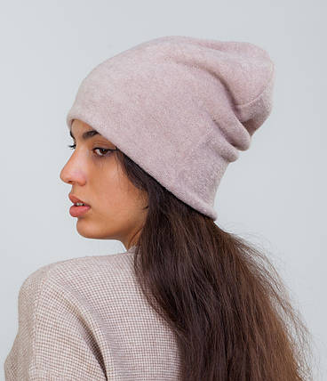 Зимняя шапка чулок бежевая, фото 2
