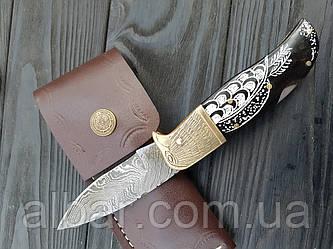 Нож  складной дамаская сталь  ручная работа .гравировка s- 70 cpa