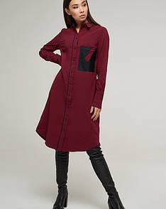 Тренч женский бордового цвета с карманом, код 2211