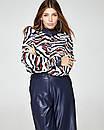 Шелковая блуза с кожаной отделкой, код 2383, фото 2