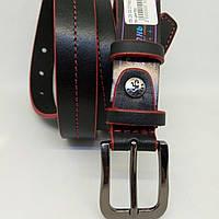 Кожаный женский ремень 25 мм чорный с красной ниткой красными краями пряжка серебрянная со стразами