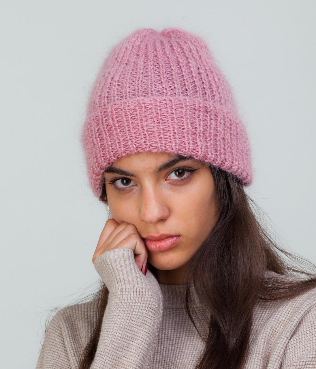 Мохеровая шапка с отворотом розовая