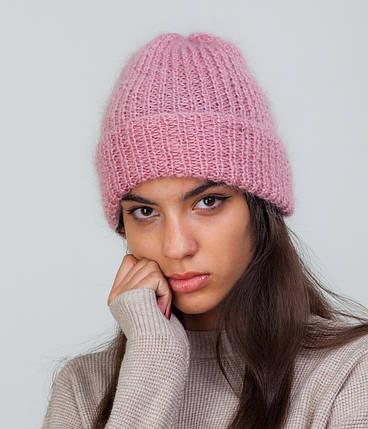 Мохеровая шапка с отворотом розовая, фото 2