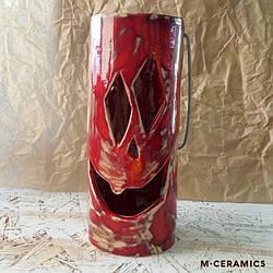 Подсвечник керамический  на Хеллоуин красный