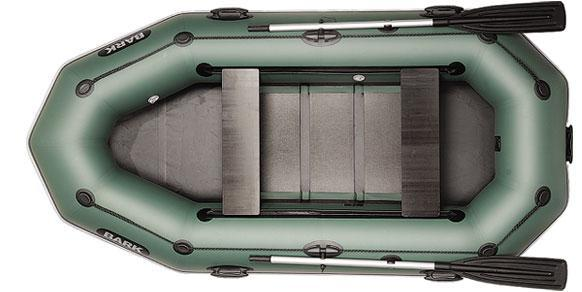 Трехместная гребная надувная лодка Барк ( Bark ) B280PD, со сдвижными сидениями и привальным брусом