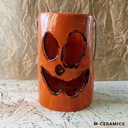 Подсвечник керамический  на Хеллоуин оранжевый