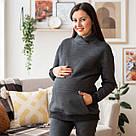 Худи для беременных с карманами хлопковый антрацит Lullababe Vancouver (S-4XL), фото 6