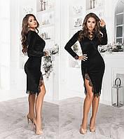 Платье женское из бархата ТК/-1134 - Черный, фото 1