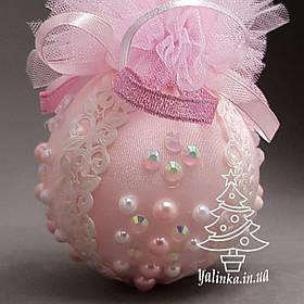 Новогодний шар из пенопласта диаметром 80 мм Розовый