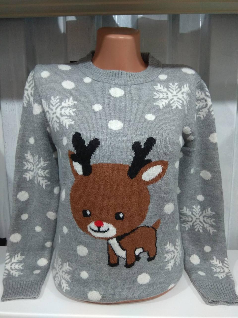 Свитер с оленем, новогодний свитер женский
