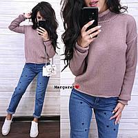 Вязаный теплый женский свитер с шерстью и высоким воротником 904693, фото 1