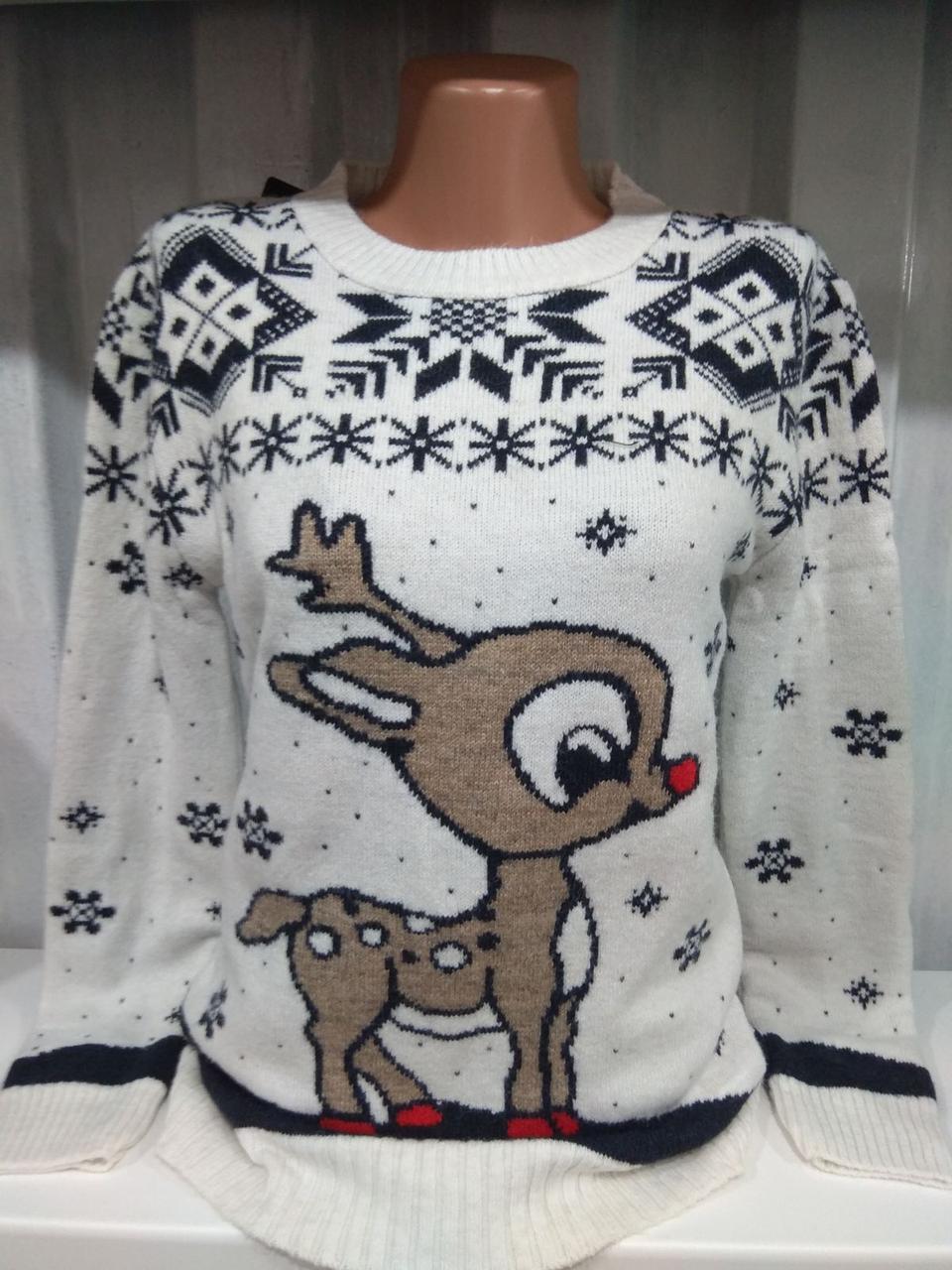 Свитер с оленями женский,новогодний свитер с оленями
