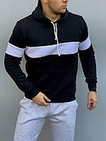 Теплая черная мужская толстовка с белыми вставками, худи с капюшоном, кофта, кенгурушка / ОСЕНЬ-ЗИМА