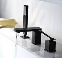 Смеситель для ванны на 3 отверстия, черный SONIC BLACK, фото 1