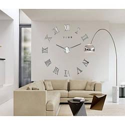 Настенные часы 3D Римские Цифры Silver