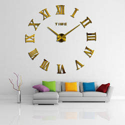 Настенные часы 3D Римские Цифры Gold