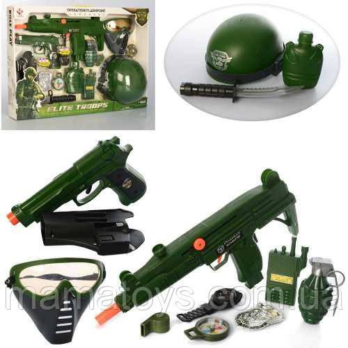 Игровой Набор военного M015A автомат трещотка, пистолет звук, каска, маска