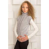 Вязаный школьный жилет для девочки (белый,черный,светло-серый)