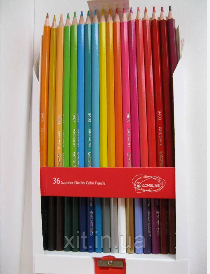 Цветные карандаши Acmeliae, 36 цветов с точилкой