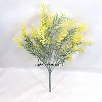 """Желтый куст""""розмарин"""" 35см с присыпкой искусственная декоративная зелень, фото 1"""