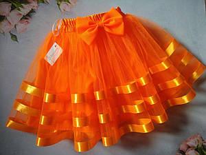 """Детская юбка """"Трио оранж"""" нарядная фатиновая  на резинке, с подкладом, с лентой  и бантом."""