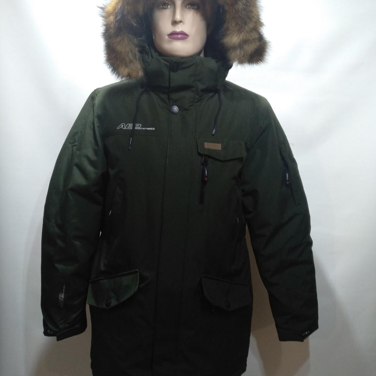 Куртка мужская зимняя в стиле Columbia оливка с натуральным мехом (размеры уточняйте)